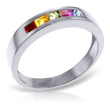 Platinum Plated 925 Sterling Silver Rings w/ Natural Multicolor Sapphires