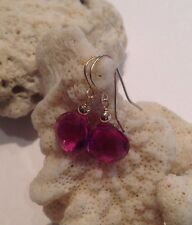14K Solid Yellow Gold Rhodolite Garnet  Briolette Earrings