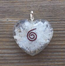 ORGONE SELENITE GEMSTONE HEART SHAPED PENDANT ORGONITE (ONE)