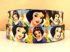 "1"" Disney Princess Snow White Faces Inspired Blue-Grosgrain Ribbon 4 Yards-Print"