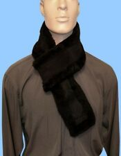 NEW MENS GENUINE BLACK AUSTRALIAN MERINO SHEEPSKIN-MOUTON FUR SCARF BOA MUFFLER