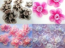 "20 Big 2.5"" Organza Sheer Ribbon Flower Applique/Satin Swirl/hand made F1 Color"