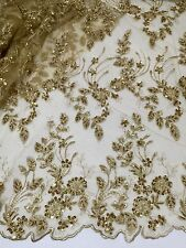 "GOLD MESH W/EMBROIDERY PEARL BEADED SEQUINS BRIDAL LACE FABRIC 52"" WIDE 1 YD"