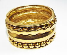 Kenneth J Lane WIDE Bold Goldtone Hinged bangle cuff BRACELET clamper costume
