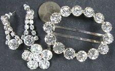 Lot of 3 Vintage Silvertone Prong Set Rhinestone Pierced Earrings Pin Buckle