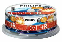 PHILIPS DVD+R 120 MIN VIDEO 4.7GB DATA 16X SPEED BLANK DISC SPINDLE 25 PACK