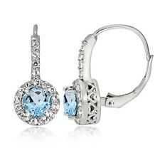 Sterling Silver 1.3ct Blue Topaz & White Topaz Round Leverback Earring