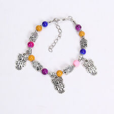 NEW DIY  fashion owl Colorful Tibetan silver beaded bracelet gift of love S148B