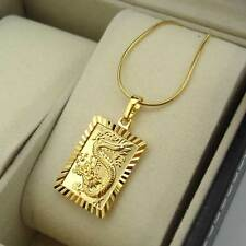 "18K Yellow Gold Filled Necklace Dragon Pendant 18""Chain Link GF Fashion Jewelry"