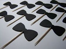 Black Bowtie party cupcake toppers set of 12 bachelor/bachelorette Party