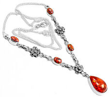 12g Amber & Fire Opal 925 Sterling Silver Necklace Jewelry SN15956