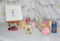10 x Plastic Sweet Jars, 2 x tongs, 50 bags DIY Candy/Sweet Buffet PARTY Storage