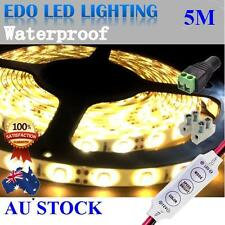 12V WARM White 5M 3528 SMD 300 LED Strips Led Strip Light Waterproof + Dimmer