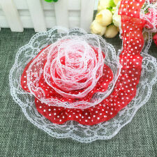 NEW 5yards 2-Layer 50mm Red Organza Lace Gathered Pleated Sequined Trim #15