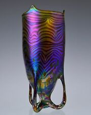 Hand Blown Iridescent Glass Vase Art Nouveau Jugendstil Czech Art Glass Vase