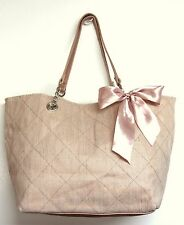 ROOMY SHINY GOLD PINK BOW DECOR QUILTED CANVAS CHAIN TOTE SHOULDER BAG HANDBAG