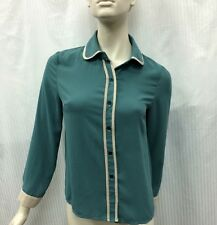 London Lace Green Button Up Blouse Fits Size 10/12 Made in Korea