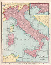 1911 Antique Map of Italy / Austro-Hungary
