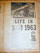 1953 newspaper Future Predicted - helicopter cars  WEATHER CONTROL Atomic Energy