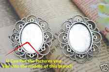 5PCS Antique Silver Frame Cameo Settings Brooch Pins (U Can Do Your Own Designs)
