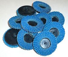 "10 pcs IIT ROLL LOCK ROLOC R TYPE 2"" FLAP WHEEL SANDING ABRASIVE DISKS, 120 GRIT"
