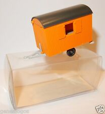 MICRO WIKING HO 1/87 CARAVANE DE CHANTIER BAUWAGEN HOME TRAILER ORANGE IN BOX