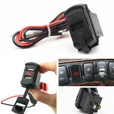 12V Red LED Car Marine Boat Voltmeter Dual USB Charger Rocker Push Switch Style