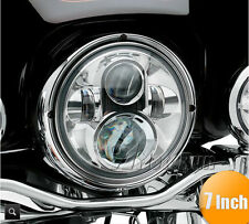 "7"" LED Chrome Projector Daymaker Headlight Hi/Lo For Harley Road King FLHR"