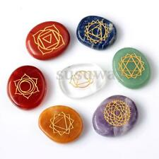 7pcs Engraved Crystal Reiki Energy Chakra Stones Palm Stones Healing With Pouch