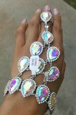 Slave iridescent silvertone teardrop rhinestone stretch Evening ring bracelet