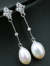 Earrings 925 Sterling Silver Cultured White FreshWater Pearl Bridal 10mm-11mm