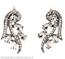 CLEAR WHITE DIAMANTE CRYSTAL RHINESTONE & Silver Victorian Art Deco Earrings