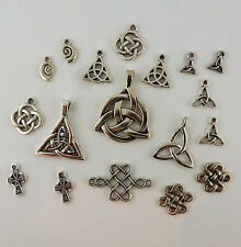 Lot of 16 Silver Plated Celtic Pendants Charms Trinity Knot, Celtic Cross Irish