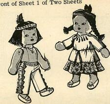 Doll PATTERN # 179 Vintage Toy Doll Native American Boy & Girl w clothes 1960s