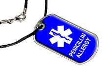 Penicillin Allergy - Military Dog Tag Black Satin Cord Necklace