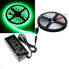 New 5M 5050 SMD Green 300 LED Flexible Strip Light+DC Connector+5A Power Supply
