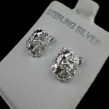 114K WHITE G/P ROUND OWL SHAPE REAL STERLING SILVER STUD EARRINGS MEN'S WOMEN'S