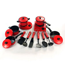 13Pcs Set Kid Children Red Kitchen Utensil Accessories Cooking Play Toy Cookware