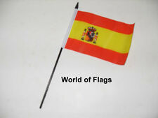 "SPAIN SMALL HAND WAVING FLAG 6"" x 4"" Spanish Crafts Table Desk Display"