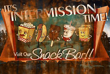 Retro Vintage Rusted Movie Theater Intermission Sign Home Theater Man Cave