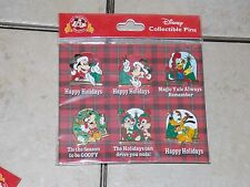 Disney Parks Mickey & Friends Christmas Holiday 2016 Pin Pack 6 Pins New