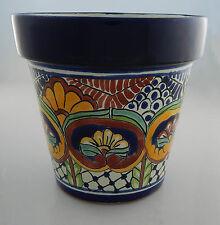 Mexican Ceramic Flower Pot Planter Folk Art Pottery Handmade Talavera # 17