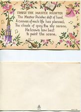 VINTAGE PURPLE CHURCH MASTER PAINTER SCRIPTURE VERSE PRINT 1 CAT CHICKENS CARD