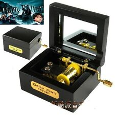 Wooden Black Square Hand Crank Music Box : Harry Potter Hedwigs Theme