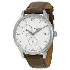 Tissot Tradition GMT White Dial Stainless Steel Brown Leather Mens Watch