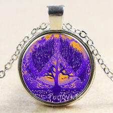 Vintage Purple Peace tree Cabochon Silver plated Glass Chain Pendant Necklace m1