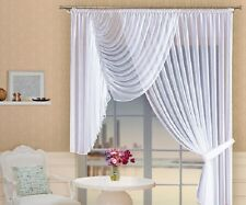 White Long & Short Voile Crinkle  Net Curtain Home Window Decoration Ready Made