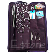 104Pcs Stainless Steel Circular Straight Knitting Needles Crochet Hook Weave Set