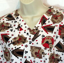 Dogs Scrubs Size Small V-Neck 60% Cotton 40% Polyester Doghouses Paw Prints