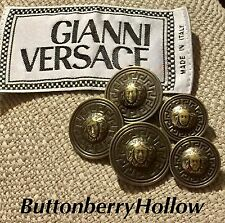 Authentic Gianni Versace Medusa Head Metal Buttons Collectible Lot of 5 Rare